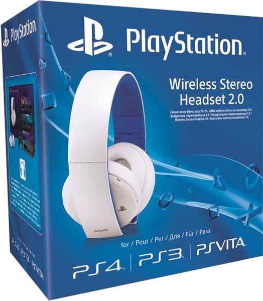 Беспроводная гарнитура для PS4 (белая, с поддержкой PS3 и PS Vita)Наслаждайтесь насыщенным динамичным звуком дома, используя беспроводную гарнитуру для PS4 или PS3, или в дороге, подключив гарнитуру к PlayStation Vita или другому мобильному устройству.<br>