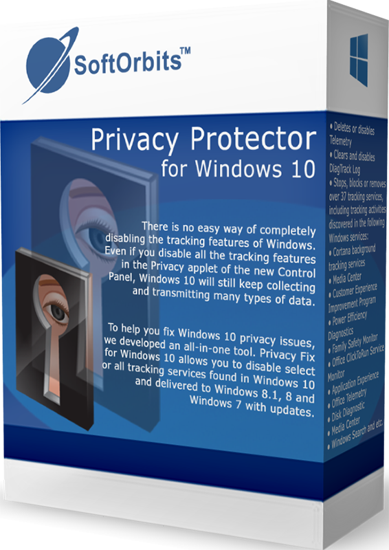SoftOrbits Privacy Protector for Windows 10 (Отключение слежки для Windows 10) (Цифровая версия)С помощью программы SoftOrbits Privacy Protector for Windows 10 вы можете позаботиться о безопасности собственных данных и конфиденциальной информации.<br>