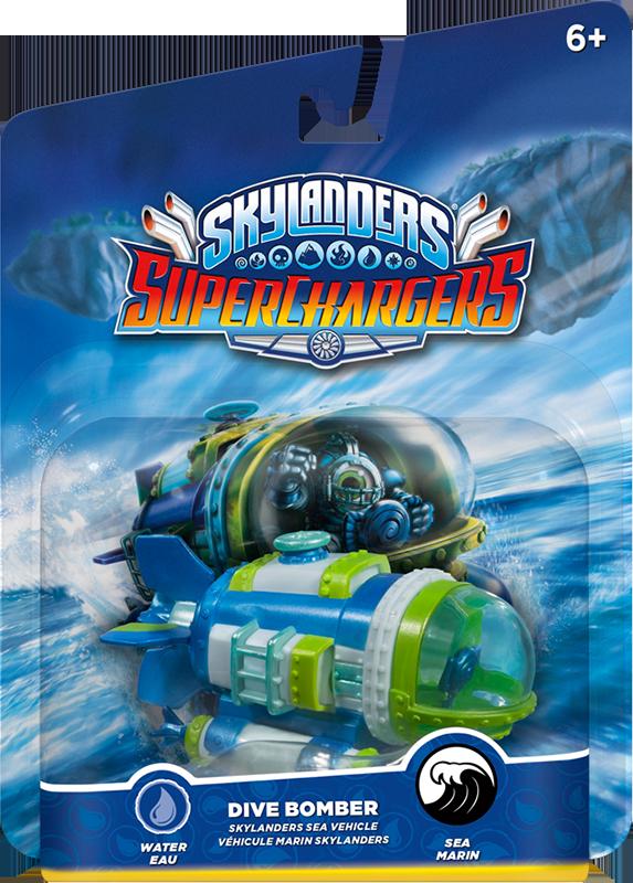 Skylanders SuperChargers. Интерактивная фигурка. Машины. Dive Bomber (стихия Water)Dive Bomber &amp;ndash; это тяжелый акватанк! Мощная стальная обшивка способна выдерживать давление толщи океанской воды. Злу никуда не спрятаться, когда за ним по пятам следует Dive-Clops.<br>