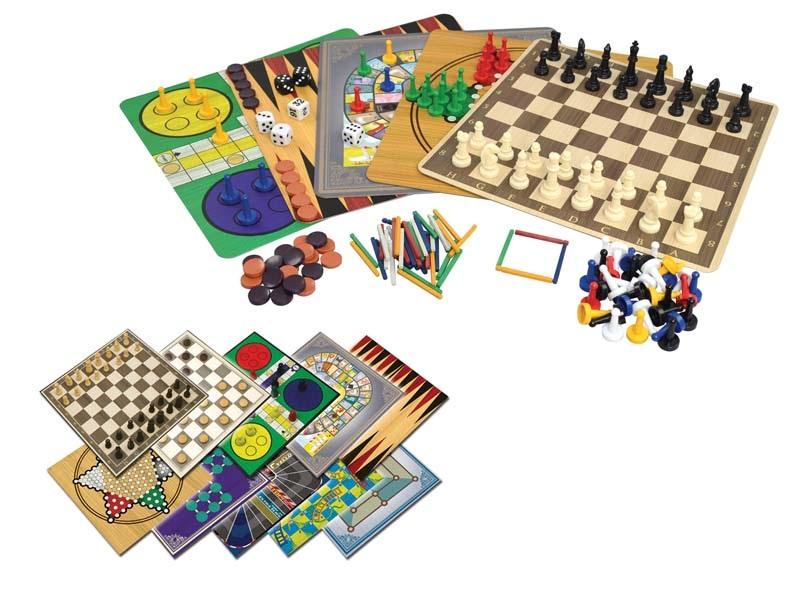 Набор игр 100 игр в 1Представляем вашему вниманию набор игр 100 игр в 1, в составе которого вы найдете 5 игровых полей для шахмат, нард, шашек, людо, мельницы, китайских шашек, солитера, покера на костях, а также игр со спичками.<br>