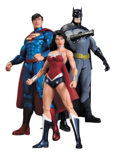 Набор фигурок DC Comics: Batman, Wonder Woman, Superman (3 в 1) (17 см)Представляем вашему вниманию набор фигурок Batman. 75th Anniversary №2. 4 в 1, созданный по мотивам популярных комиксов.<br>
