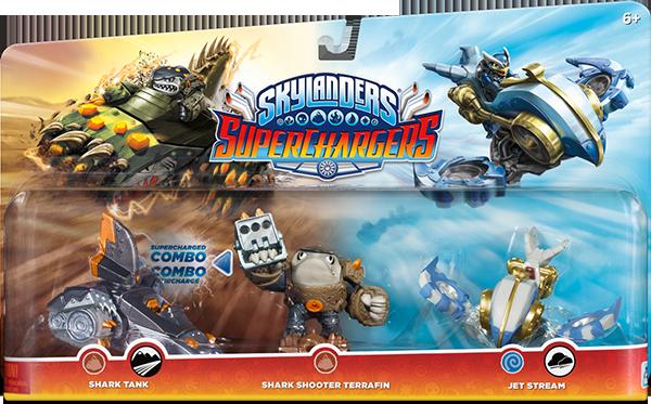 Skylanders SuperChargers. Набор из трех фигурок (стихия Earth+Earth+Air)Skylanders SuperChargers. Набор из трех фигурок (стихия Earth+Earth+Air) включает в себя скайлендер-суперзаряд Shark Shooter Terrafin и машины Shark Tank и Jet Stream.&#13;<br>.<br>