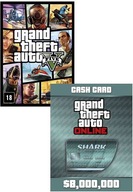 Grand Theft Auto V (GTA 5) + платежная карта Megalodon Shark Cash Card [PC, Цифровая версия] (Цифровая версия) mr froger carcharodon megalodon model giant tooth shark sphyrna aquatic creatures wild animals zoo modeling plastic sea lift toy