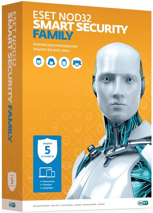 ESET NOD32 Smart Security Family. Продление (5 устройств, 1 год) (Цифровая версия)С антивирусным решением Smart Security Family вы получите оптимальную защиту для всей семьи. Защитит 5 ваших любых устройств, будь это смартфон, планшет или ПК.<br>
