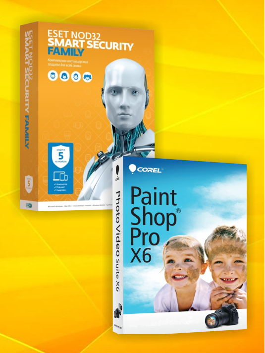 ESET NOD32 Smart Security Family (5 устройств, 1 год) + PaintShop Pro X6 OEM Edition (Цифровая версия)