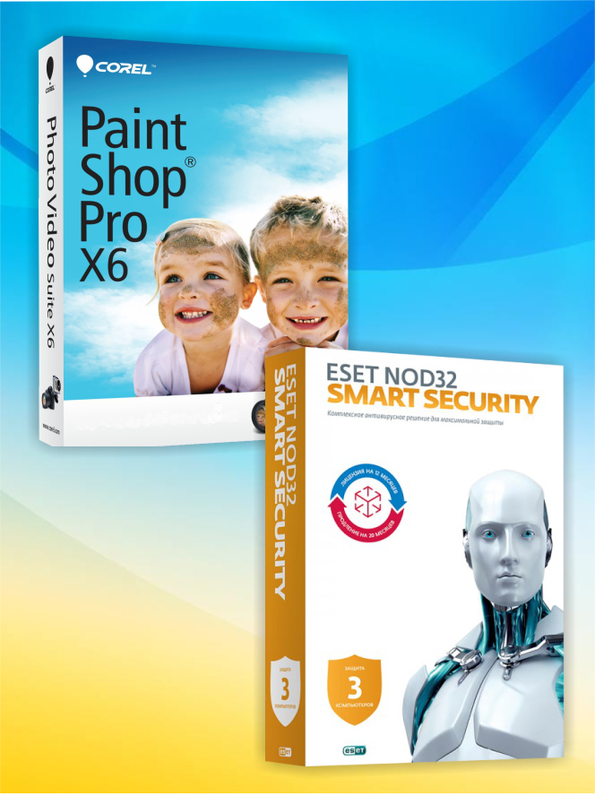 ESET NOD32 Smart Security (3 ПК, 2 года) + PaintShop Pro X6 OEM Edition (Цифровая версия)