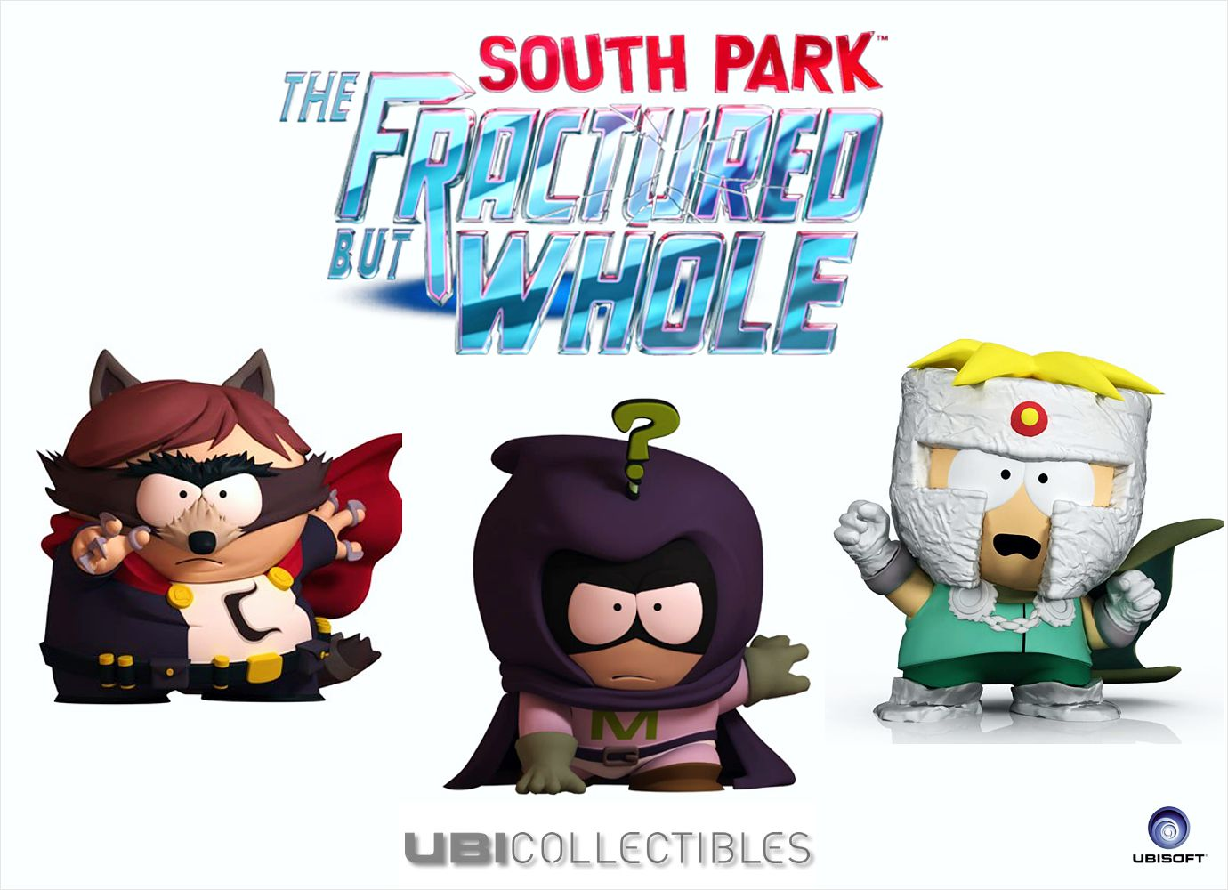Набор фигурок South Park The Fractured But Whole. Енот, Мистерион, Профессор Хаос (3 в 1)Представляем вашему вниманию набор фигурок South Park The Fractured But Whole. Енот, Мистерион, Профессор Хаос, комплект из 3-х фигурок героев Южного парка.<br>
