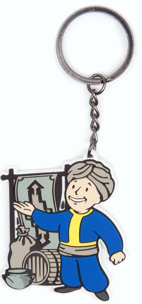 Брелок Fallout 4. BarterБрелок Fallout 4. Barter создан по мотивам популярной видеоигры Fallout 4. Он выполнен в виде Волт-боя, который является своеобразным символом довоенной организации, упоминаемой в серии игр Fallout. Персонаж изображен с в виде торговца с чалмой, предлагающего купить свои товары.<br>