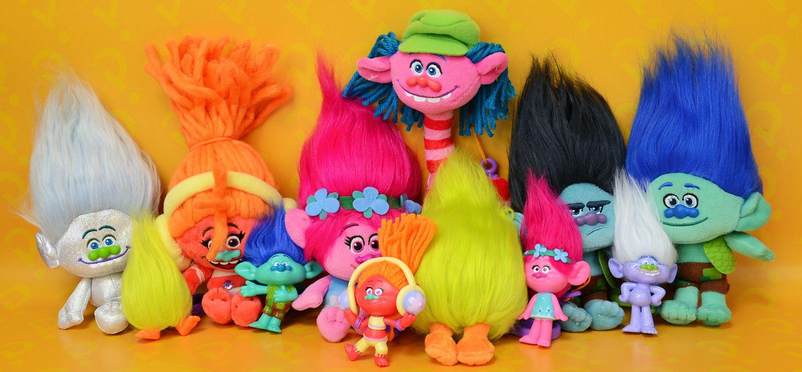 игрушка тролль с цветными волосами купить