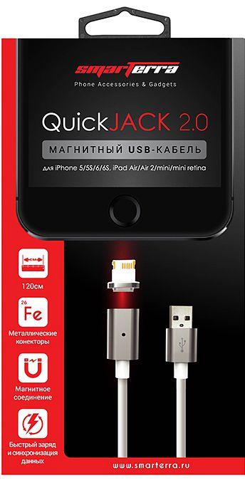 Магнитный USB-кабель Smarterra QuickJack 2.0 c разъемом Lightning для устройств Apple (белый)Электрический кабель Smarterra QuickJack 2.0 для устройств Apple c разъемом Lightning соединяется безопасно, благодаря магнитному коннектору, который сам направит штекер к разъёму питания на телефоне. Кабели с магнитным коннектором не изнашиваются во время использования, благодаря подключению без перегибов провода.<br>