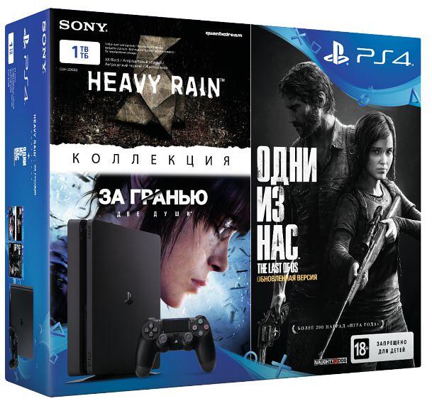 Игровая консоль Sony PlayStation 4 Slim (1TB) Black (CUH-2008B) + игра Одни из нас. Обновленная версия + сборник игр Heavy Rain и За гранью: Две души. Коллекция от 1С Интерес