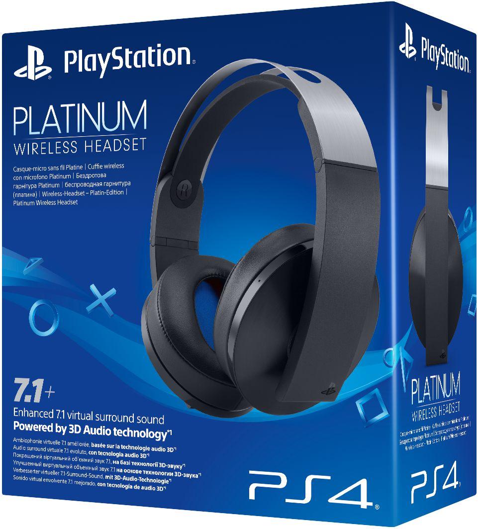 Беспроводная гарнитура Platinum для PS4 (черная)Окажитесь в центре игровых миров и ощутите новые грани звука благодаря платиновой беспроводной гарнитуре Platinum для PS4. Насладитесь улучшенным виртуальным объемным звучанием 7.1 во всех играх для PS4.  Благодаря 3D-аудио вы услышите все звуки вокруг в играх, поддерживающих этот режим, а с помощью специальных режимов прослушивания вы сможете окунуться в игру именно так, как задумывали разработчики.<br>