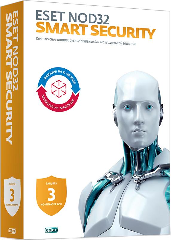 ESET NOD32 Smart Security (3 ПК, 1 год или продление на 20 месяцев)Новый Eset Smart Security позволит сделать вашу работу в сети Интернет безопасной и максимально защищенной. Оставайтесь защищенными в социальных сетях, изучайте интернет-ресурсы, делайте покупки онлайн или просто играйте.<br>