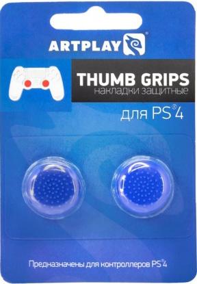 Защитные накладки Artplays Thumb Grips для геймпада Dualshock 4 (2 шт., синие)Защитные накладки Artplays Thumb Grips  защищают стики контроллера Playstation 4 от стирания.<br>