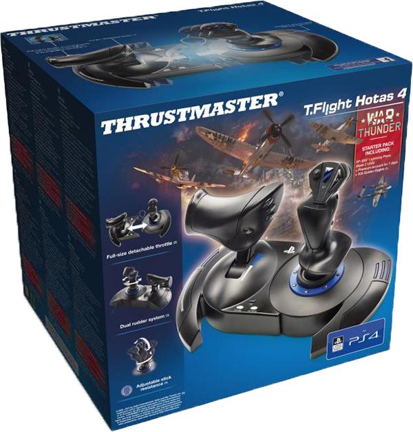 Джойстик Thrustmaster T-Flight Hotas 4 для PS4 и PC + код War Thunder Starter PackПредставляем вашему вниманию джойстик Thrustmaster T-Flight Hotas 4 War Thunder &amp; WT Starter Pack с регулируемой чувствительностью ручки, съемным рычагом управления двигателем реальных размеров и двойным рулем направления.<br>