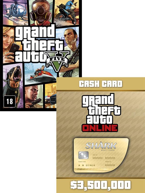 Grand Theft Auto V (GTA 5) + платежная карта Whale Shark Cash Card  (Цифровая версия)В Grand Theft Auto V поклонников ждет не просто самый огромный и детализированный мир из когда-либо создававшихся Rockstar Games, но и возможность влиять на жизнь и поступки сразу трех главных героев.<br>