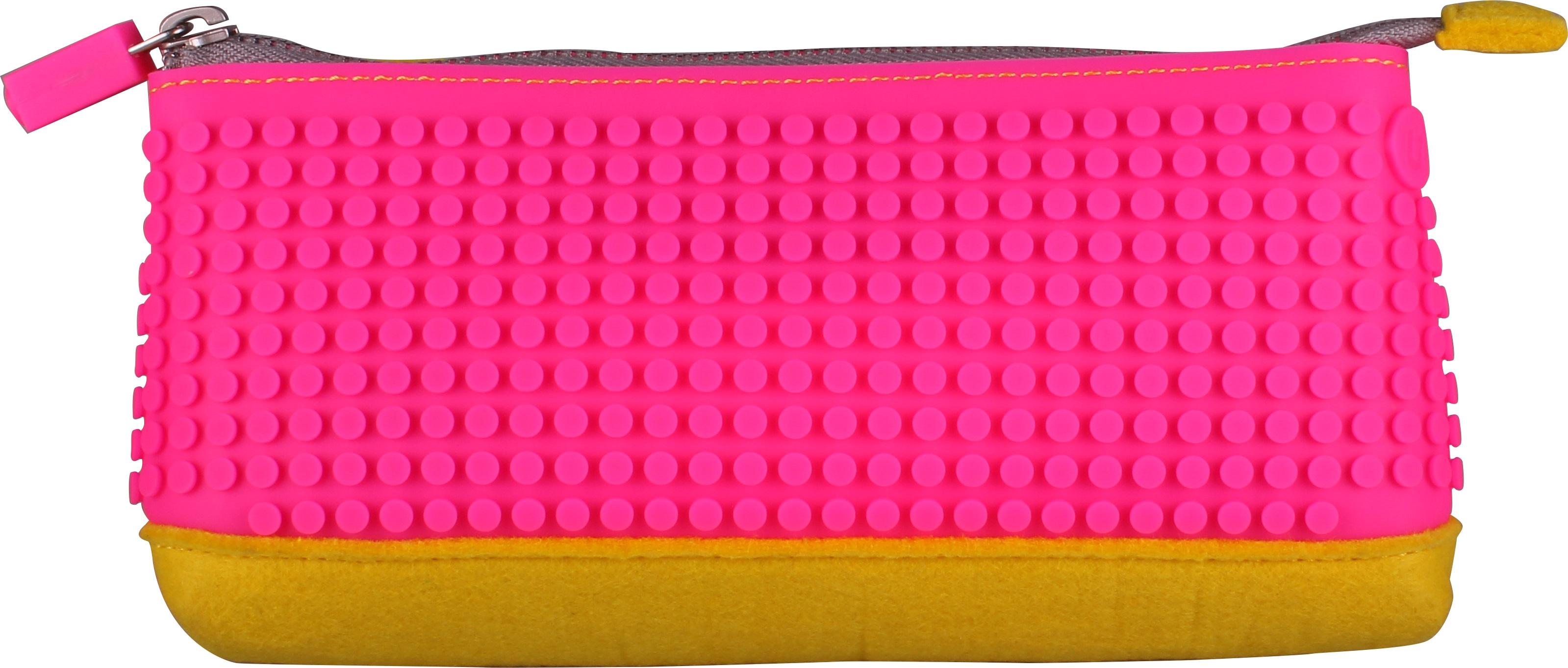 Пиксельный пенал (Pencil Case) WY-B002 (Желтый/фуксия)