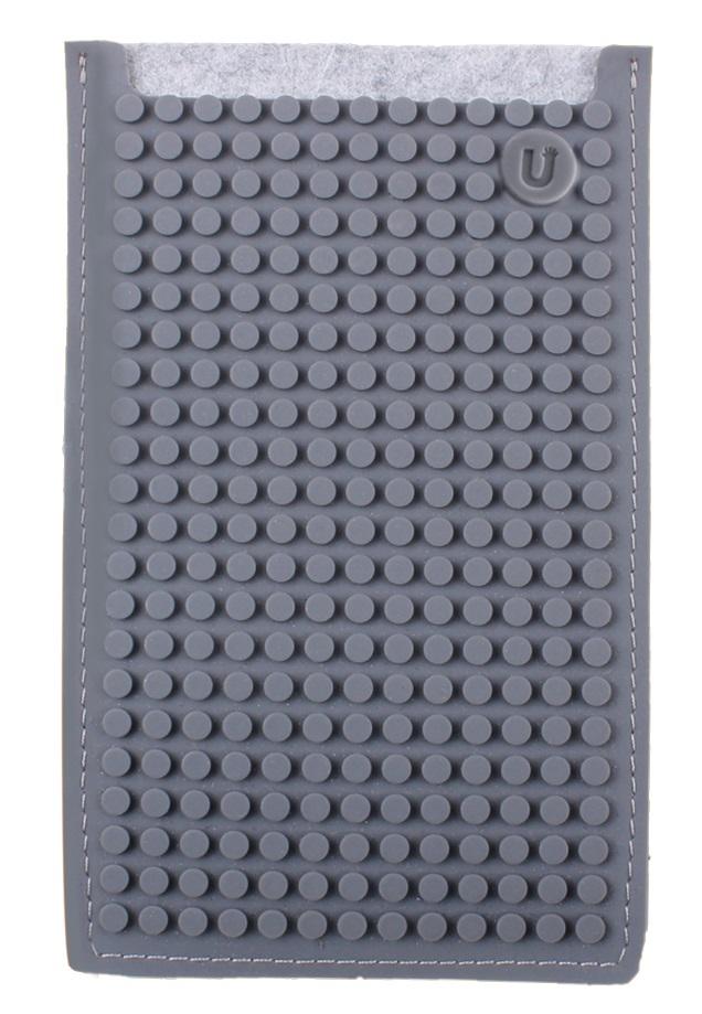 Большой пиксельный универсальный чехол для смартфона (Pixel felt phone pocket) (Серый)