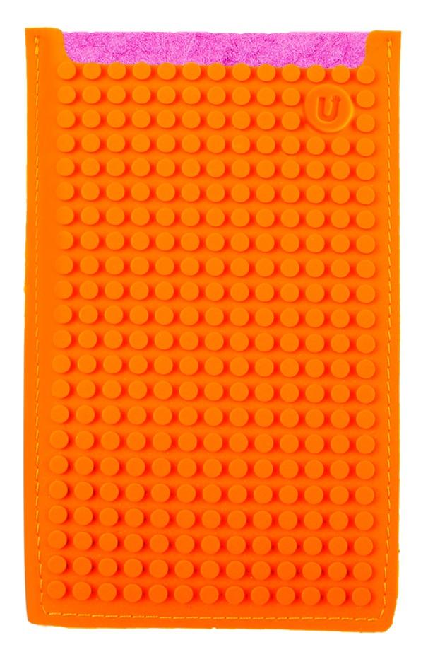 Большой пиксельный универсальный чехол для смартфона (Pixel felt phone pocket) (Фуксия/оранжевый)