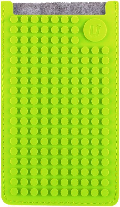 Маленький пиксельный универсальный чехол для смартфона (Pixel felt phone pocket) (Серый/зеленый)