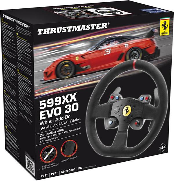 Съемное рулевое колесо Thrustmaster Ferrari 599XX EVO 30 Wheel Add-On Alcantara Edition для PS4 / PS3 / PC / Xbox OneПредставляем вашему вниманию съемное рулевое колесо Thrustmaster Ferrari F599XX EVO 30 Wheel с аутентичным покрытием Alcantara &amp;ndash; реплику руля Ferrari 599XX EVO.<br>