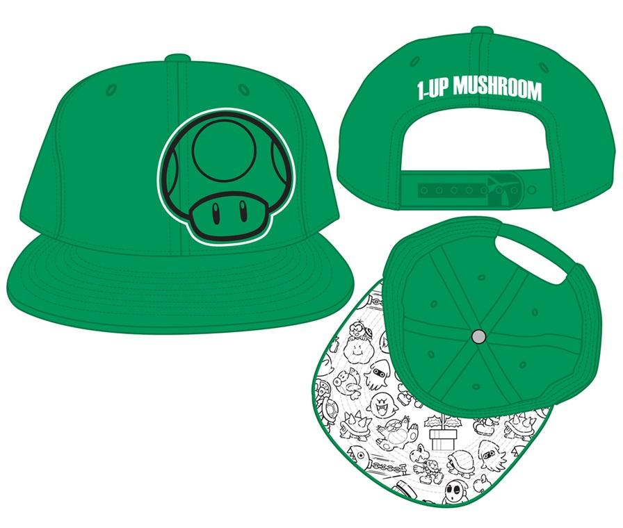 Бейсболка Nintendo. 1Up Mushroom (Зелёная)Представляем вашему вниманию бейсболку Nintendo. 1Up Mushroom с изображением персонажа серии игр Super Mario Bros.. Бонусы в виде зелёного гриба «1-up добавляют Марио одну жизнь.<br>