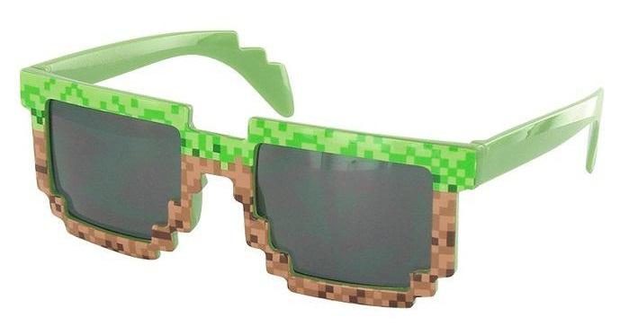 Пиксельные очки в стиле «Minecraft». Блок земли