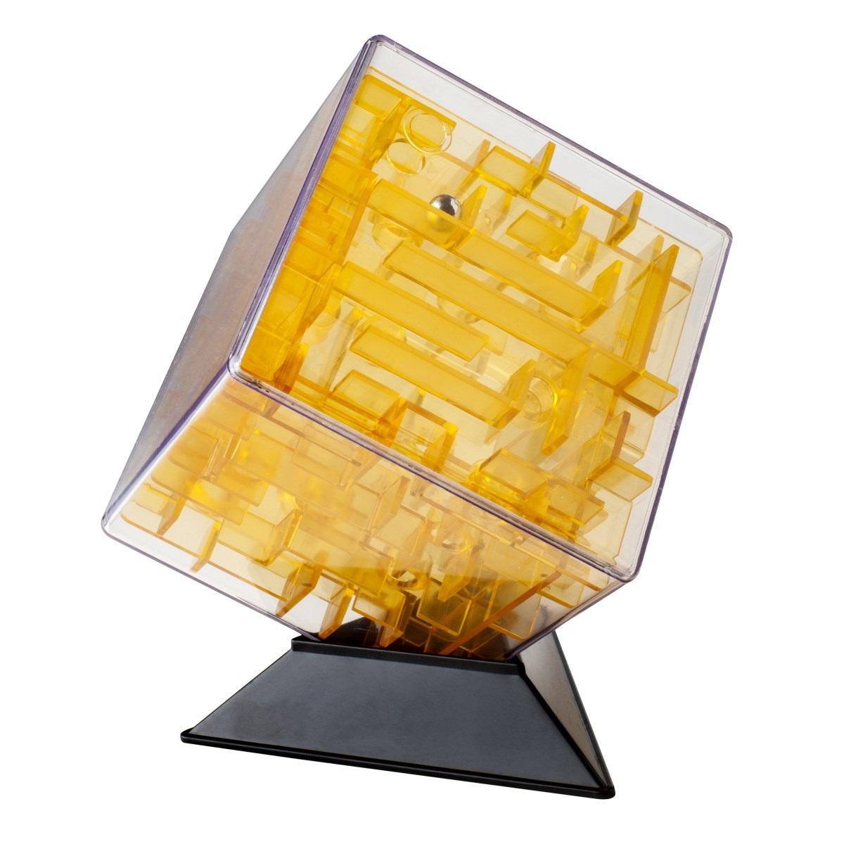 Куб-лабиринт Лабиринтус (10 см) (желтый)Представляем вашему вниманию куб-лабиринт Лабиринтус, лабиринт из различных дорожек в прозрачном кубе, который ведет к цели металлический шарик, путем вращения прозрачной сферы в руках.<br>