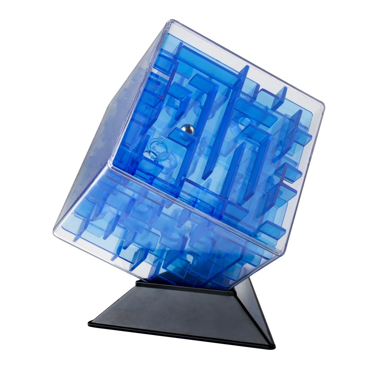 Куб-лабиринт Лабиринтус (10 см) (синий)Представляем вашему вниманию куб-лабиринт Лабиринтус, лабиринт из различных дорожек в прозрачном кубе, который ведет к цели металлический шарик, путем вращения прозрачной сферы в руках.<br>