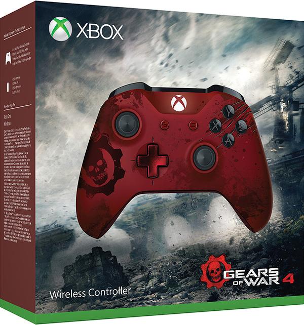 Беспроводной геймпад для Xbox One лимитированной серии Gears of War 4 Crimson Omen с 3.5 мм разъемом и Bluetooth (красный)