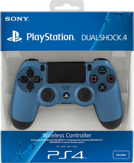 Беспроводной геймпад DualShock 4 Grey Blue для PS4 (серо-синий)
