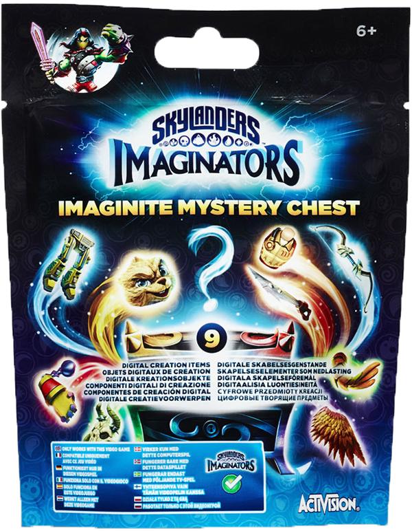 Skylanders Imaginators. Mystery chestSkylanders Imaginators. Mystery chest позволяет расширить набор доступных кастомизаций вашего скайлендера. Поставьте сундук на портал и получите 9 доступных наград: это могут быть анимации, атрибуты внешнего вида или оружие.<br>