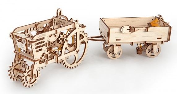 Конструктор 3D-пазл Ugears. Прицеп к тракторуПредставляем вашему вниманию конструктор 3D-пазл Ugears. Прицеп к трактору, модель для самостоятельной сборки без клея от компании Ugears.<br>