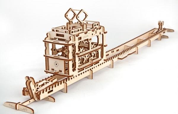 Конструктор 3D-пазл Ugears. Трамвай с рельсами