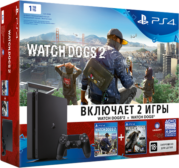 Комплект Sony PlayStation 4 Slim (1TB) Black + игра Watch_Dogs + игра Watch_Dogs 2
