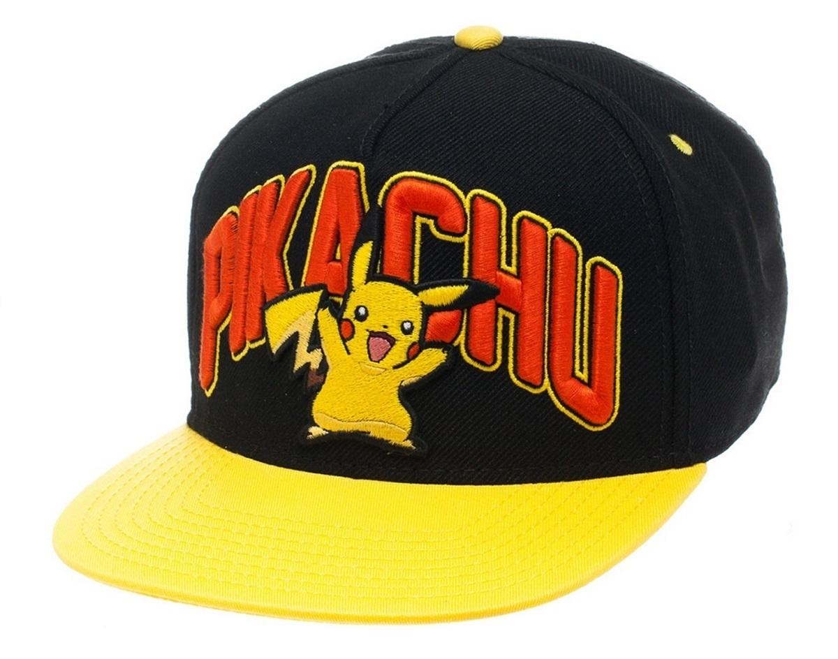 Бейсболка Pokemon. Pikachu Black Snapback With Yellow Bill
