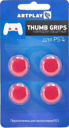Защитные накладки Artplays Thumb Grips на стики геймпада DualShock 4 для PS4 (4 шт., красные)