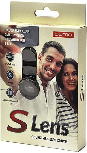 Объективы Qumo S Lens 3 in 1 для планшетов и смартфоновНабор Qumo S Lens 3-в-1 включает в себя специальные линзы для камеры смартфона, а также прищепку, с помощью которой они закрепляются на корпусе устройства.<br>