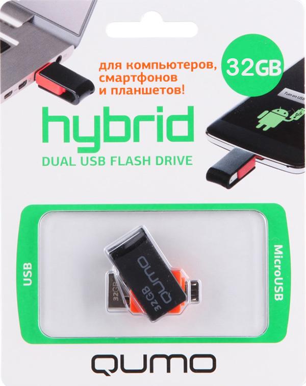 USB накопитель Qumo 32 ГБ Hybrid для PC, смартфона и планшетаQumo Hybrid – ультра-современный флеш-накопитель с двумя коннекторами: для подключения к компьютеру и ноутбуку через интерфейс 2.0 и для подключения к планшетам и смартфонам, имеющим разъём microUSB и поддерживающим функцию «On-the-Go» (USB OTG).<br>
