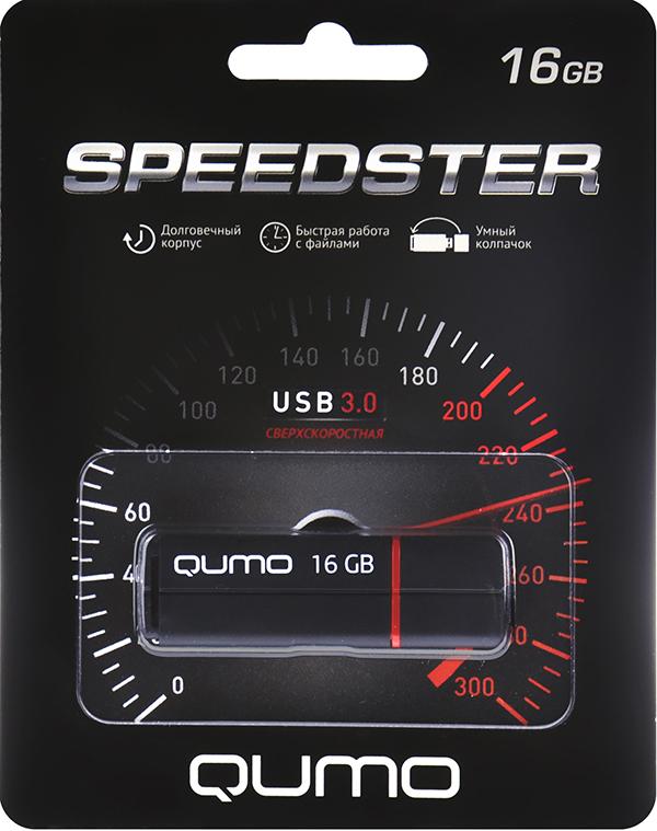 USB накопитель Qumo 16 ГБ Speedster 3.0 BlackQumo Speedster – высокоскоростной флеш-накопитель с «умным колпачком», который надевается на оба конца корпуса. Эта полезная функция не позволит колпачку потеряться.<br>