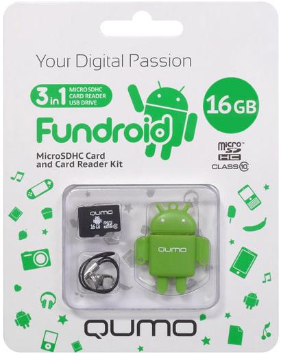 Карта памяти Qumo MicroSD 16 ГБ class 10 + USB картридер Fundroid для мобильных устройств (зеленый)Комплект Fundroid является идеальным решением класса «3-в-1» для тех, кто ценит функциональность и необычный дизайн.<br>
