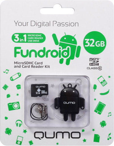 Карта памяти Qumo MicroSDHC 32 ГБ class 10 + USB картридер Fundroid для мобильных устройств (черный)Комплект Fundroid является идеальным решением класса «3-в-1» для тех, кто ценит функциональность и необычный дизайн.<br>