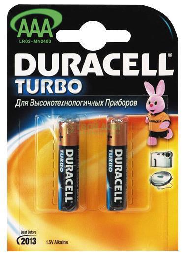 Элемент питания Duracell LR03-BC2 turboТолько в батарейках Duracell Turbo есть PowerCheck, встроенный индикатор, который всегда позволяет Вам узнать уровень заряда Вашей батарейки.&#13;<br>&#13;<br>Duracell turbo работает до 40% дольше,чем обычные щелочные батарейки.<br>