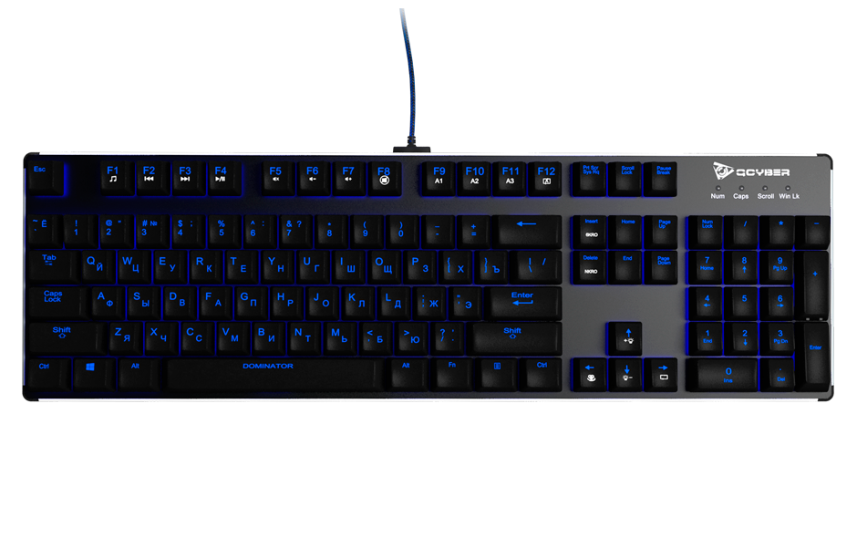 Клавиатура Qcyber Dominator проводная игровая для PCПредставляем Вашему вниманию нашу новинку – механическая игровая клавиатура Qcyber Dominator. С данной клавиатурой любой момент, в любой игре будет под Вашим полным контролем.<br>
