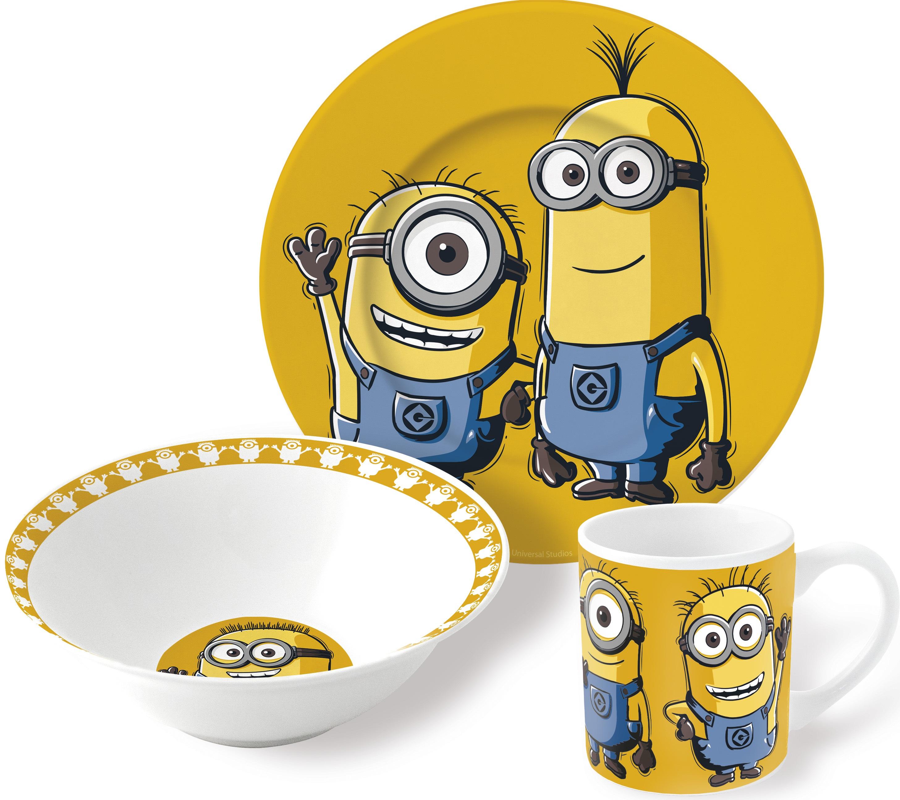 Набор посуды МиньоныНабор посуды Миньоны создан по мотивам популярного анимационного фильма «Миньоны», рассказывающего о приключениях маленьких забавных монстриков, целью жизни которых является служба самому грозному злодею.<br>