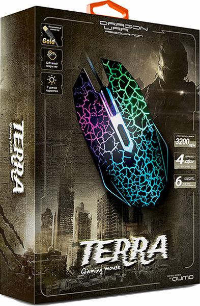 Проводная мышь Qumo Dragon War Terra для PCПроводная игровая мышь Qumo Dragon War Terra обладает эргономичным корпусом, обеспечивает легкое управление. Подключение к компьютеру происходит при помощи крепкого кабеля длиной 1.5 м, оснащенным USB-разъемом.<br>