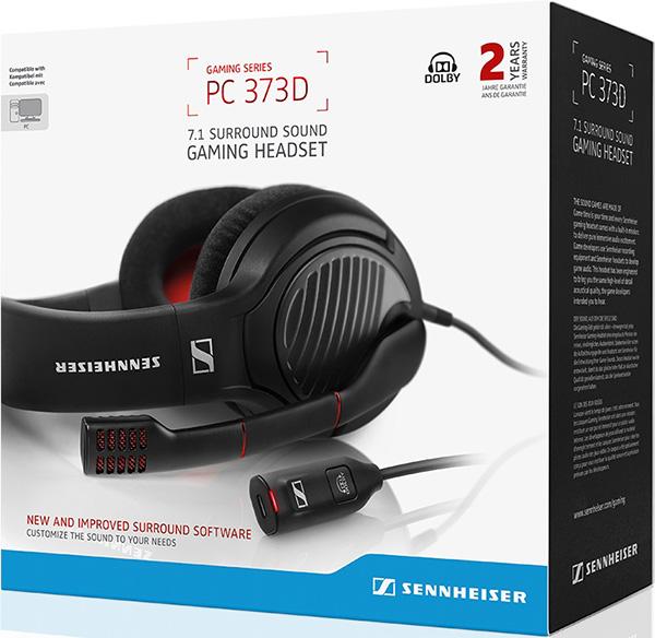 Гарнитура Sennheiser 373D для PCSennheiser PC 373D &amp;ndash; это игровая гарнитура открытой конструкции высшего класса, которая обеспечивает неповторимое ощущение полного погружения в игру благодаря объемному звуку формата Dolby Surround 7.1, а качественный шумоподавляющий микрофон гарантирует безупречное качество общения.<br>