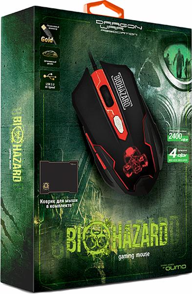 Мышь Qumo Dragon War Biohazard SE для PCИгровая мышь Qumo Dragon War Biohazard с настраиваемой подсветкой и программируемыми клавишами. Модель оснащена переключателем разрешения датчика, который работает в режимах 800, 1200, 1600, 2400 dpi.<br>