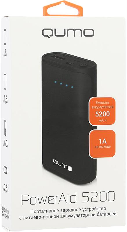 Портативное зарядное устройство Qumo PowerAid 5200Портативный, перезаряжаемый и универсальный аккумулятор QUMO PowerAid 5200 позволит смотреть, играть, говорить дольше. Мощная и компактная модель совместима со всеми коммуникаторами, игровыми приставками. Благодаря элегантному дизайну аккумулятор выглядит модно. Гибкая подзарядка вашего блока от ноутбука через USB порт или сетевой адаптер с USB-кабелем.<br>