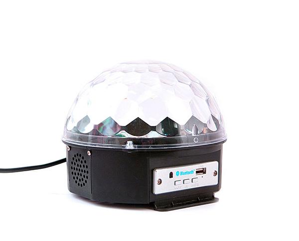 Светодиодный диско-шар Belsis QL-194LСветодиодный диско-шар проигрывает музыку через флешку, Bluetooth смартфона или Bluetooth ПК. Мигает разными цветами в ритм музыки. В комплекте есть пульт.<br>